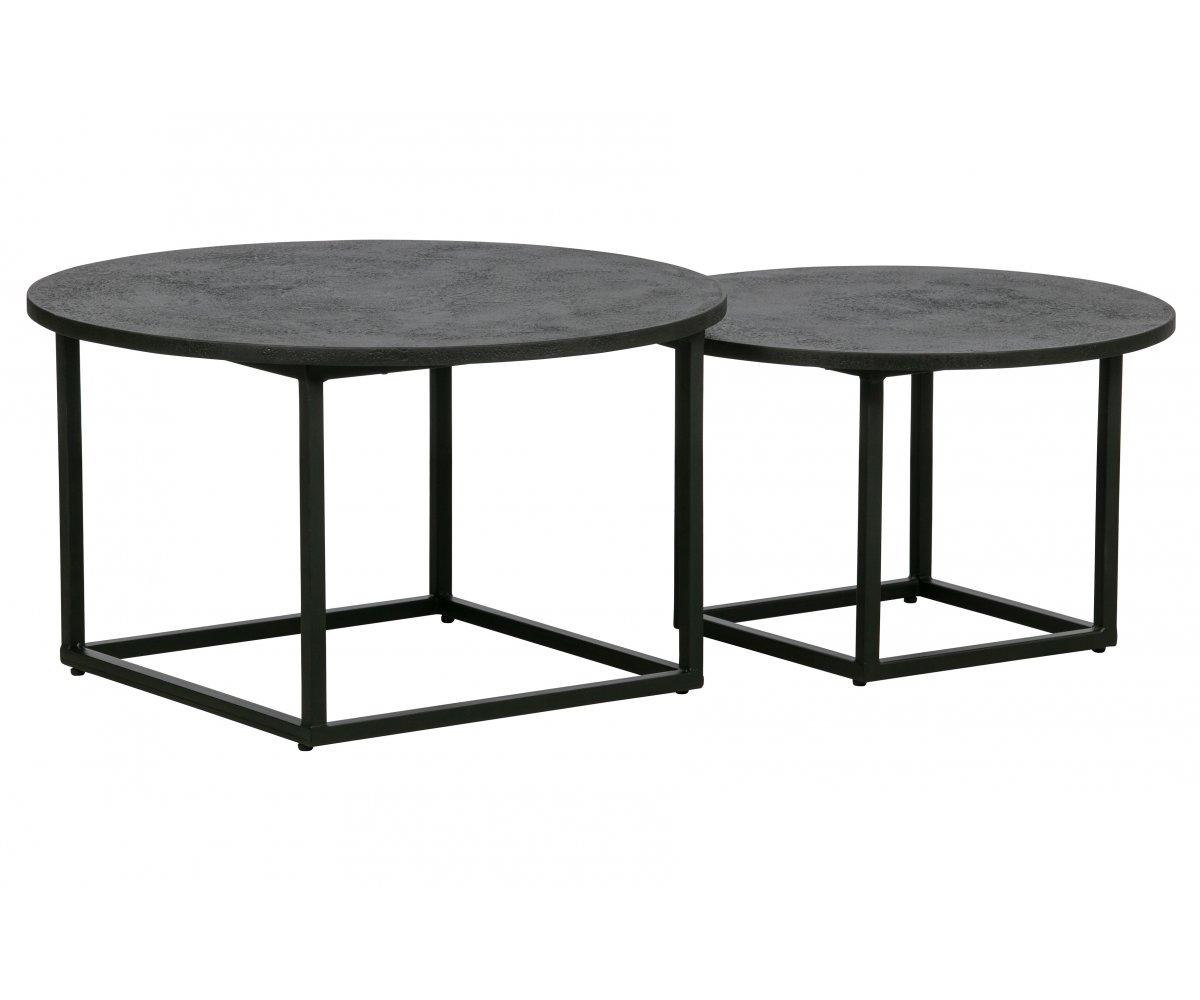 Set de 2 tables basse rondes en bois et métal