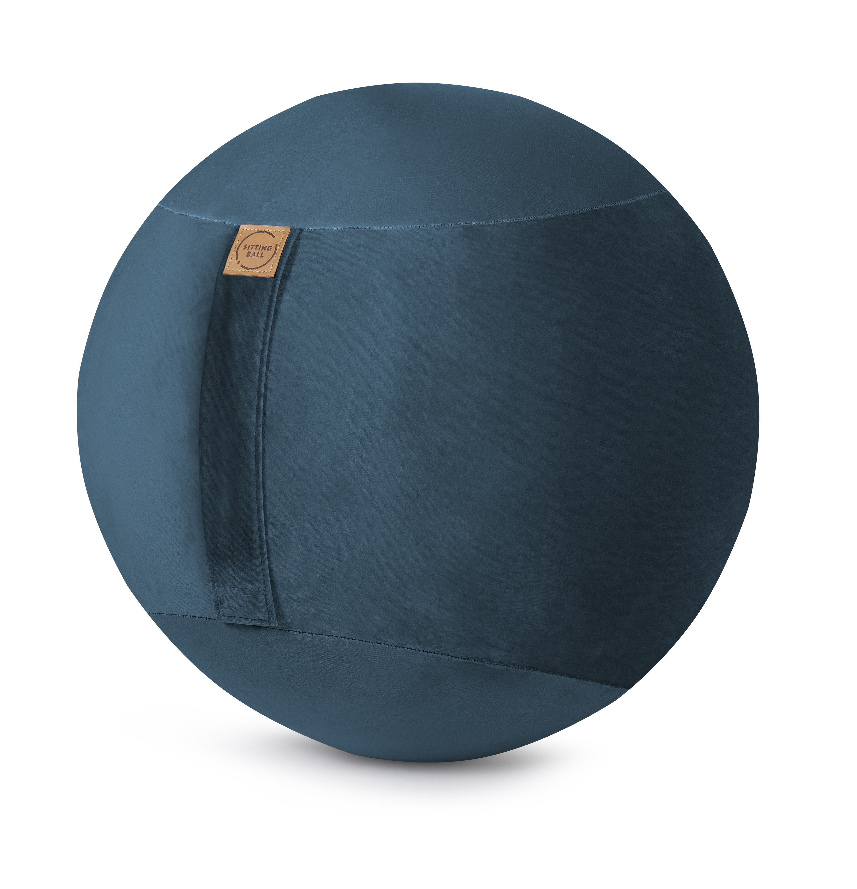 Balle d'assise avec poignée bleu pétrole velours D65
