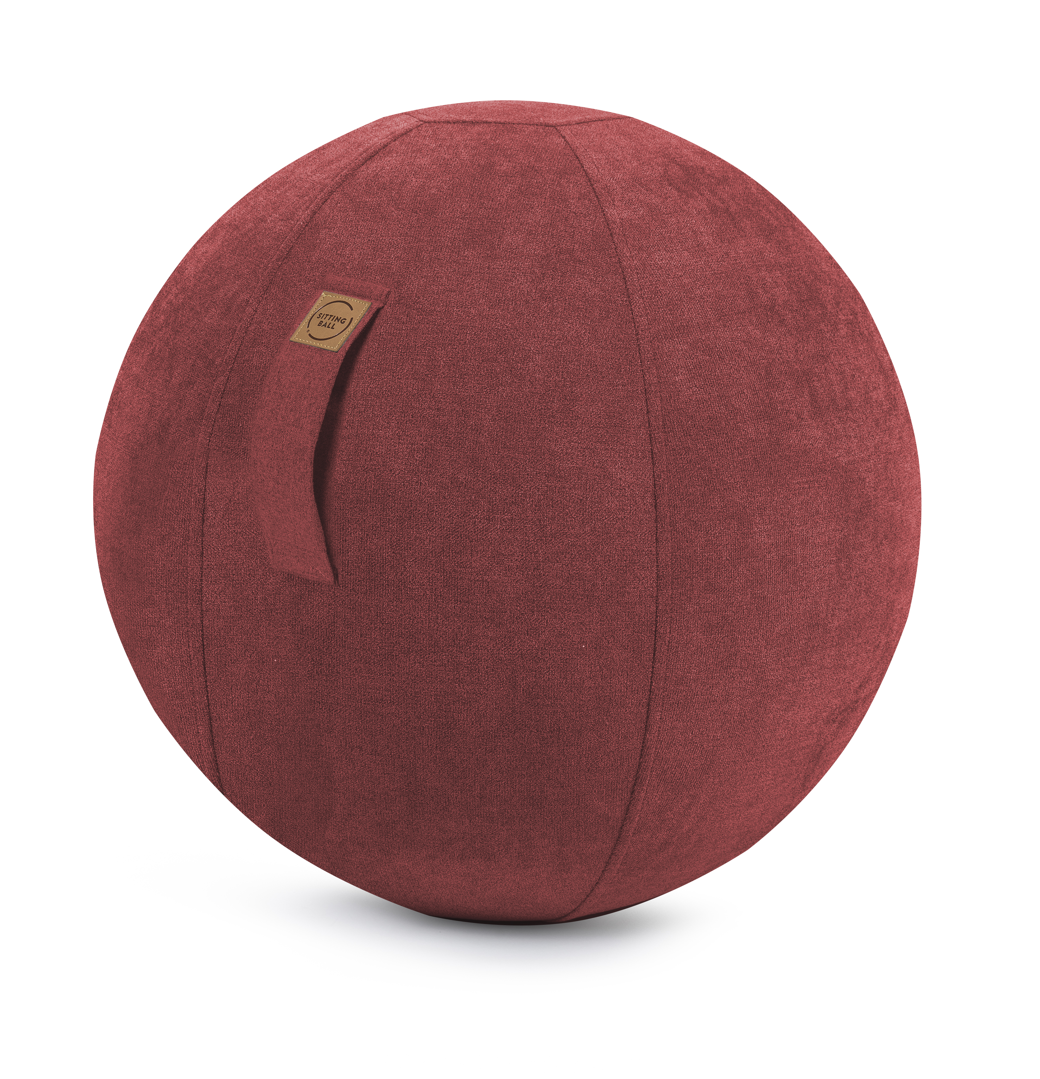 Balle d'assise design en suédine rouge avec poignée D65