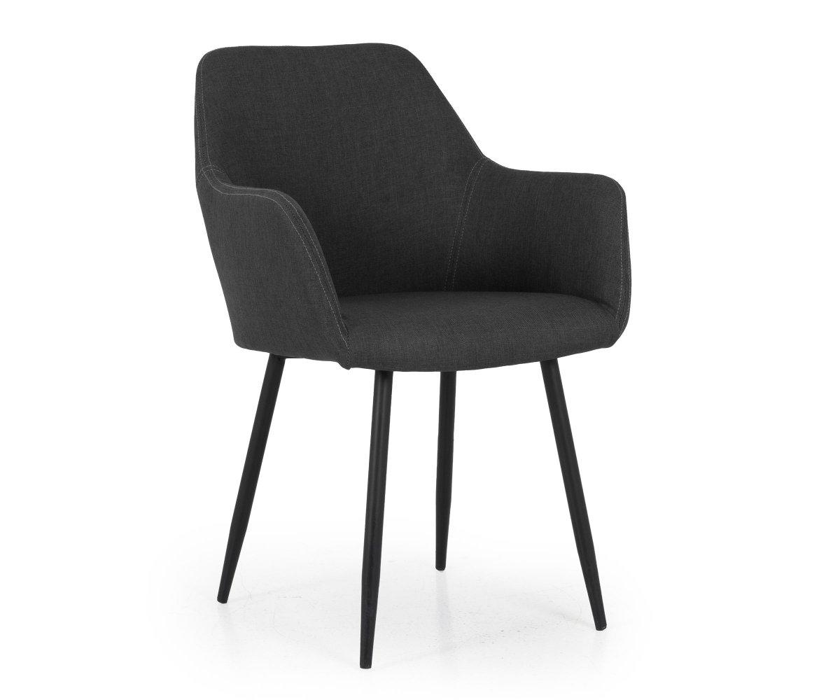 Chaise design en tissu avec accoudoirs Gris