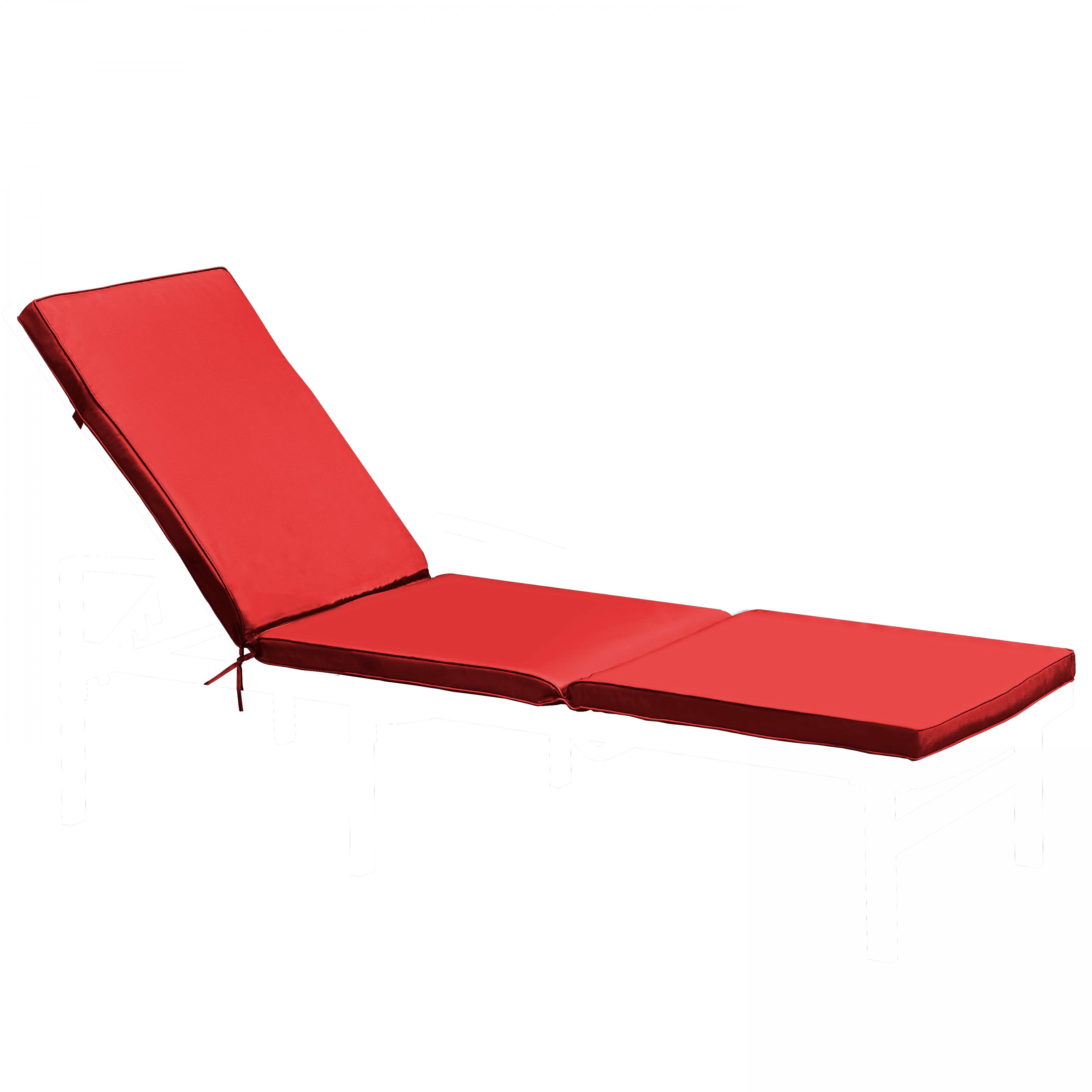 Coussin bain de soleil 1 place en polyester rouge