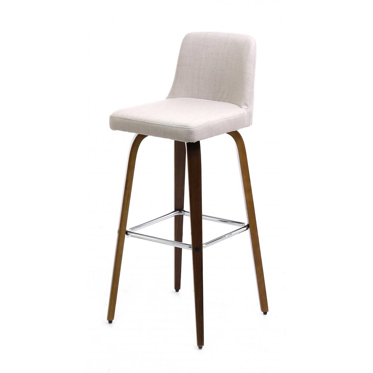 Chaise de bar piètement noyer h 77 cm  blanc