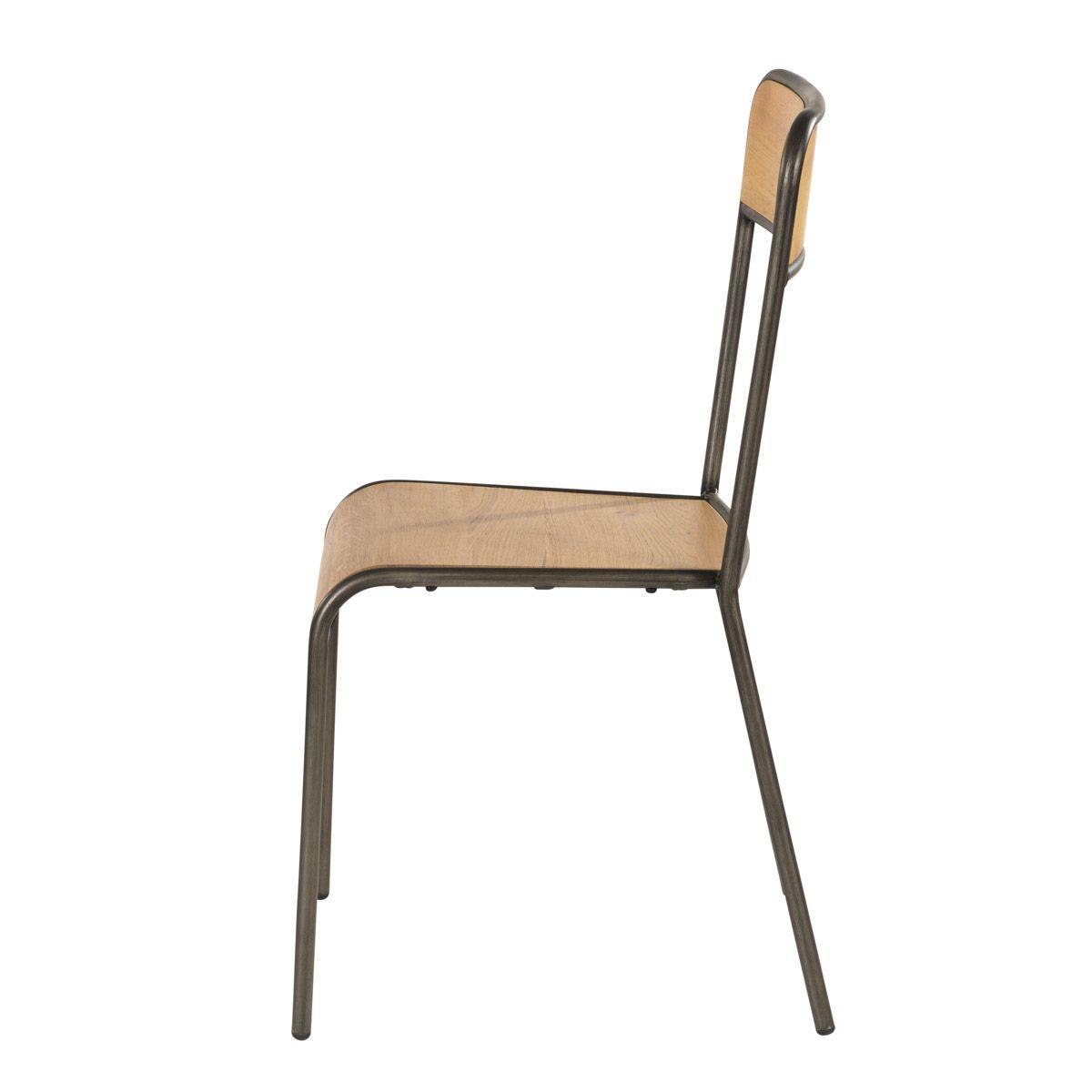 Chaise d'écolier chêne et métal  beige