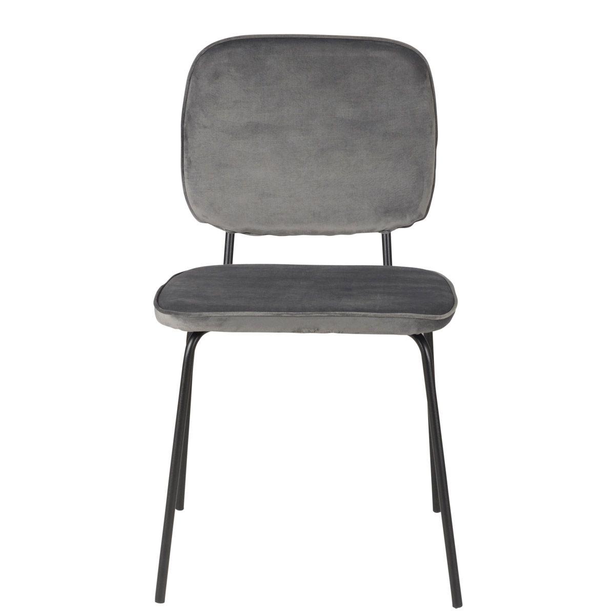 Chaise velours dossier bandeau et pieds métal  gris foncé