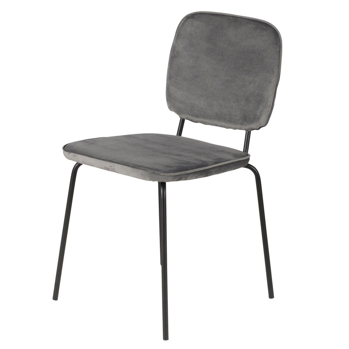 Chaise velours dossier bandeau et pieds métal