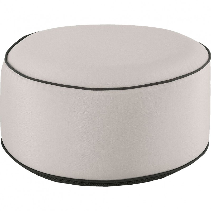 Pouf rond tissu beige gonflable