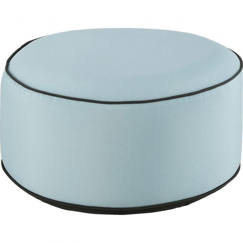 Pouf rond tissu bleu clair gonflable