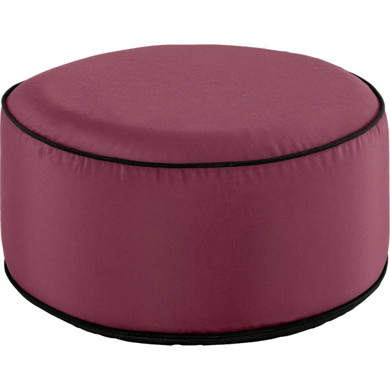 Pouf rond tissu rouge gonflable
