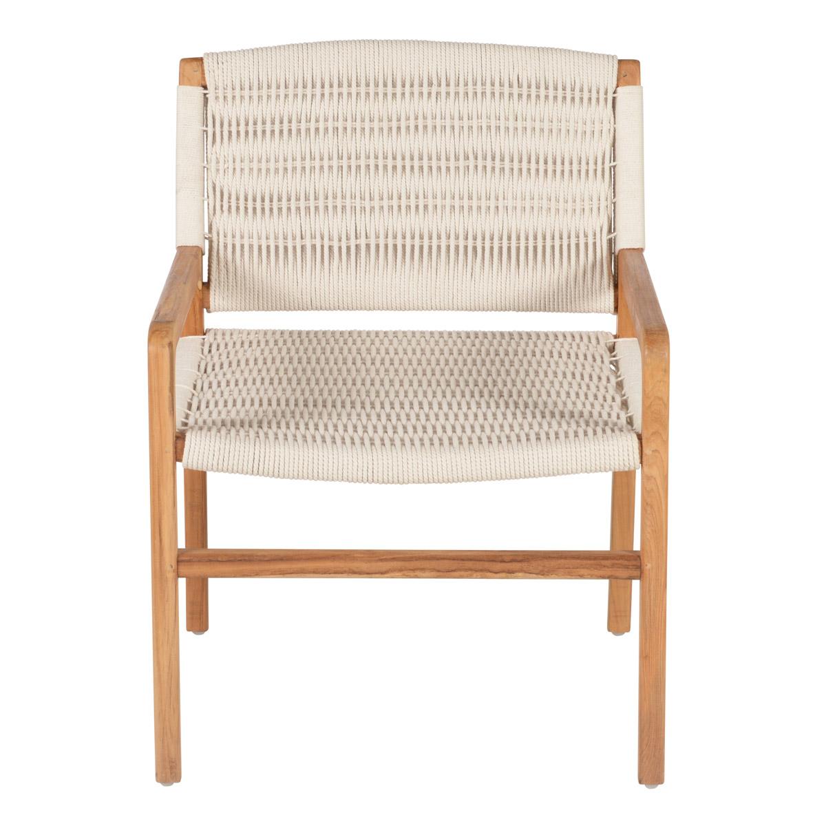 Chaise en teck et cordage en coton blanc avec accoudoir