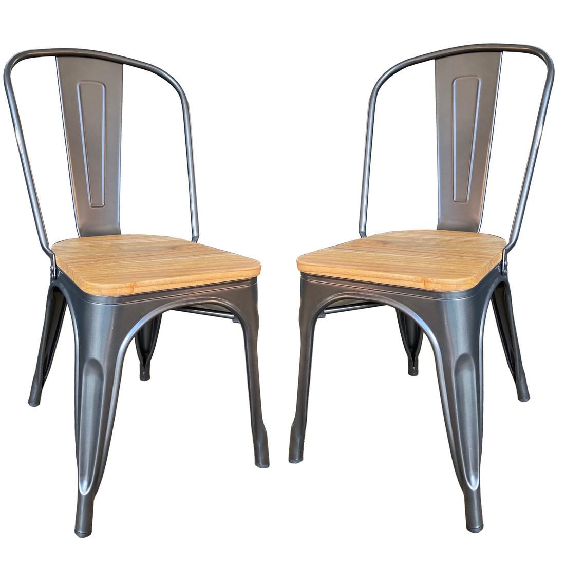 Lot de 2 Chaises design de repas acier gris et bois clair