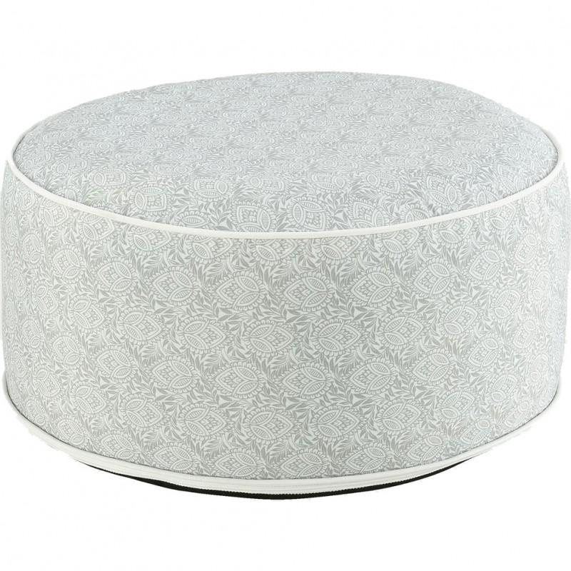 Pouf rond gonflable en tissu gris motifs