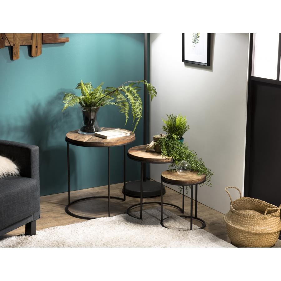 Tables d'appoint bois teck recyclé acacia mahogany pieds métal