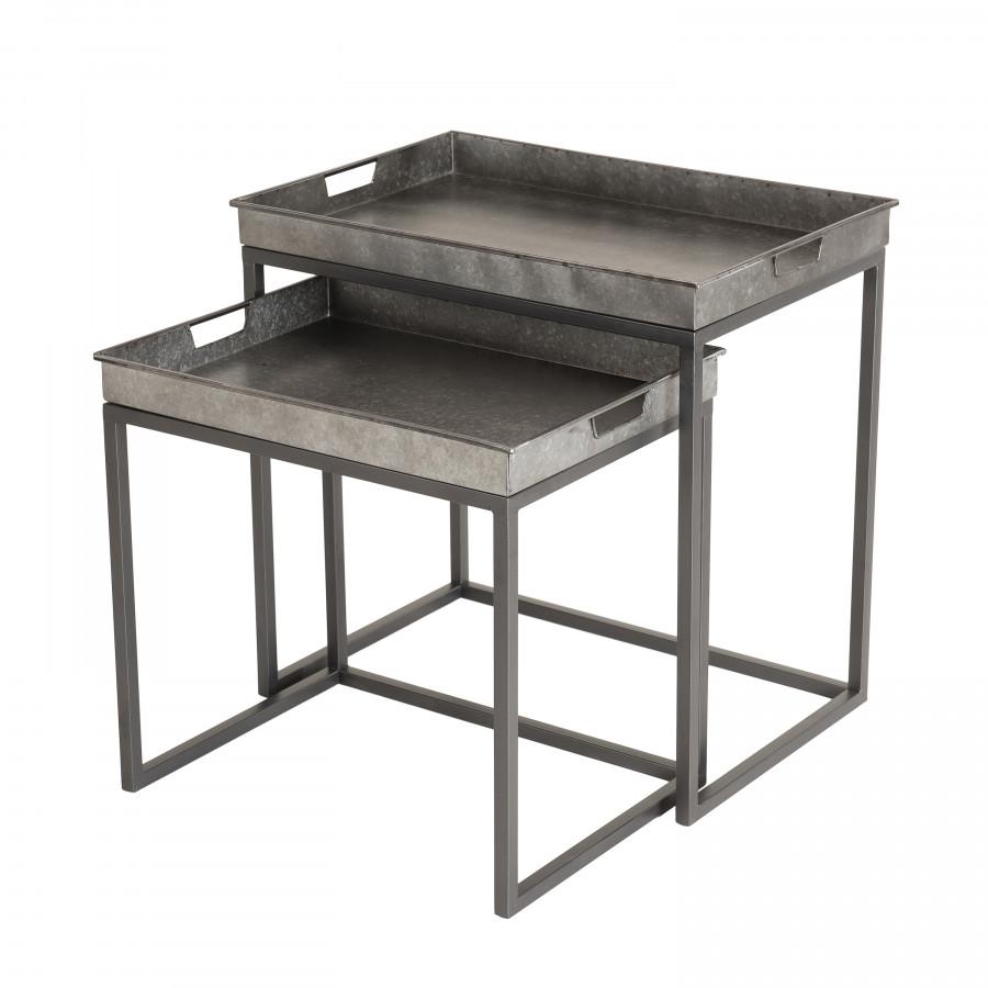 2 tables d'appoint gigognes rectangulaires zinc pieds métal
