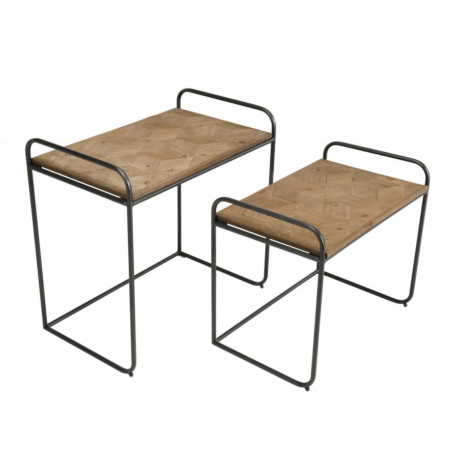 2 tables d'appoint gigognes bois sapin marqueté pieds métal