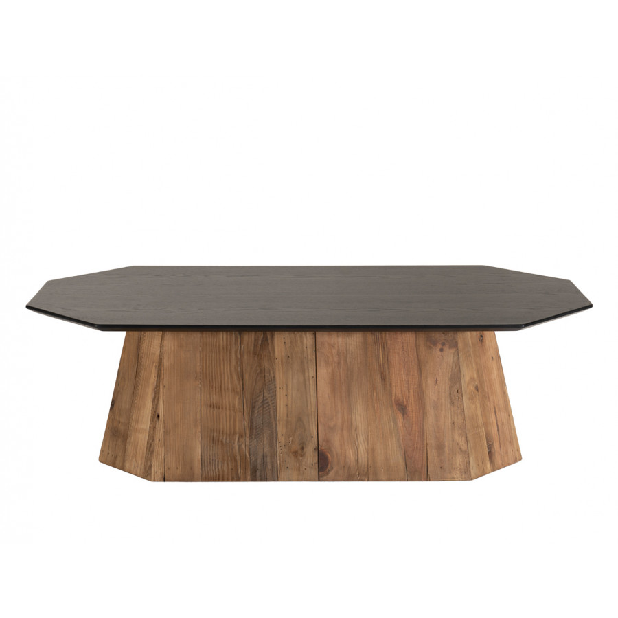 Table basse octogonale bois pin recyclé et contreplaqué