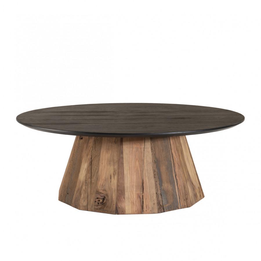 Table basse ronde bois pin recyclé et contreplaqué