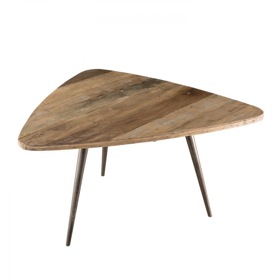 Table basse ovoide bois teck recyclé et métal
