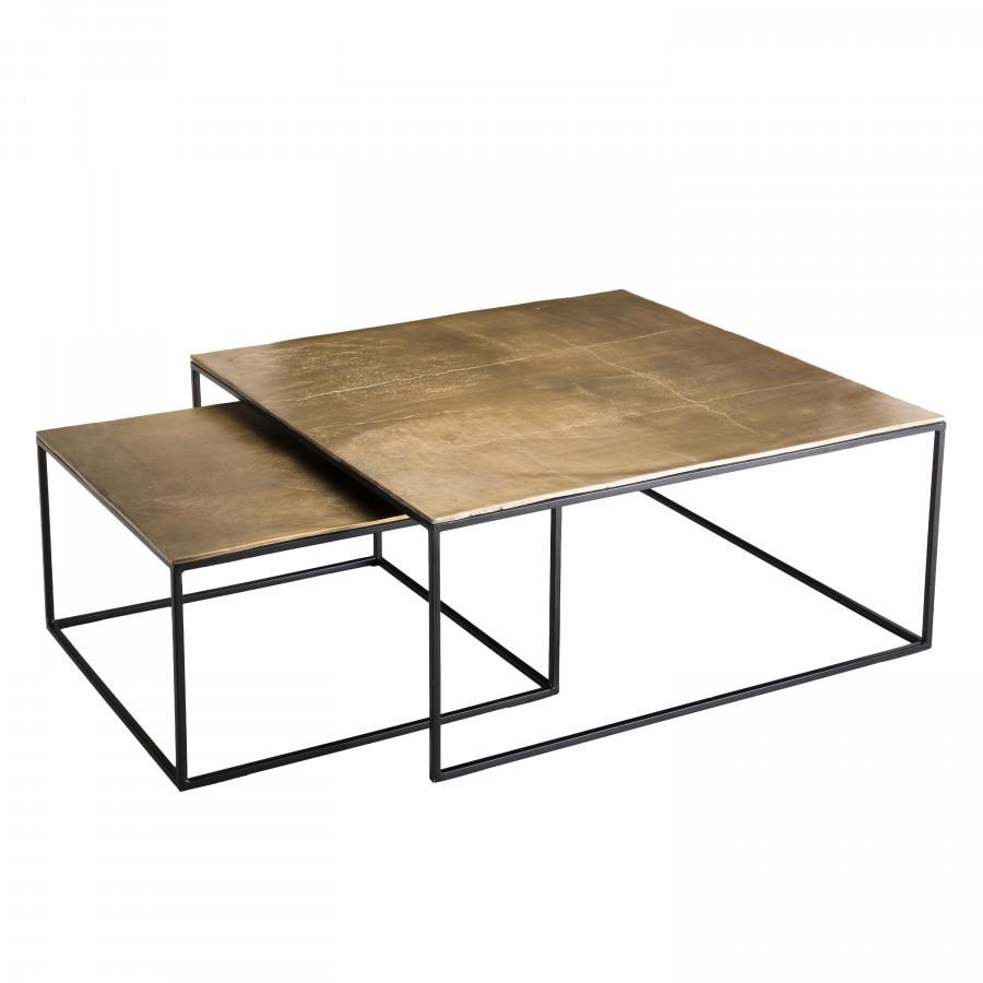 2 tables gigognes carrées aluminium doré pieds métal