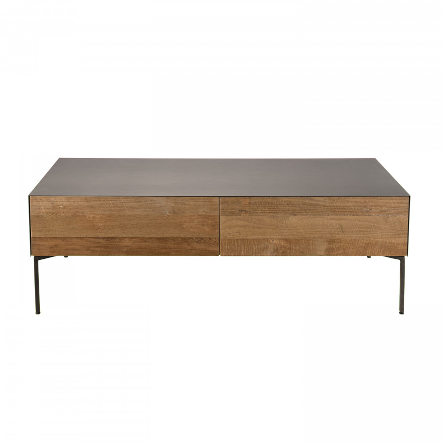 maison du monde Table basse 2 tiroirs bois teck recyclé métal et pieds métal