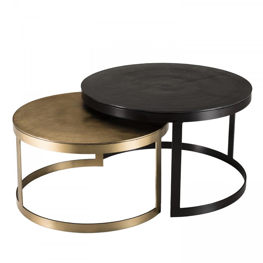 maison du monde 2 tables rondes gigognes aluminium noir doré pieds métal