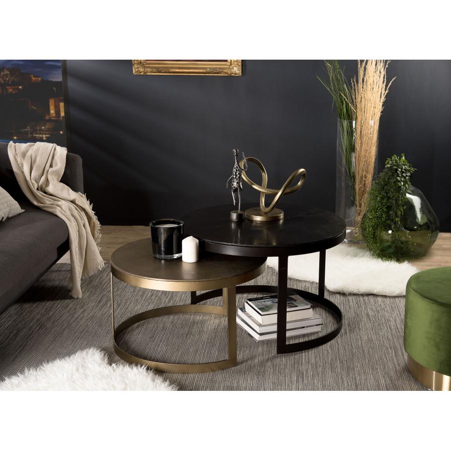2 tables rondes gigognes aluminium noir doré pieds métal