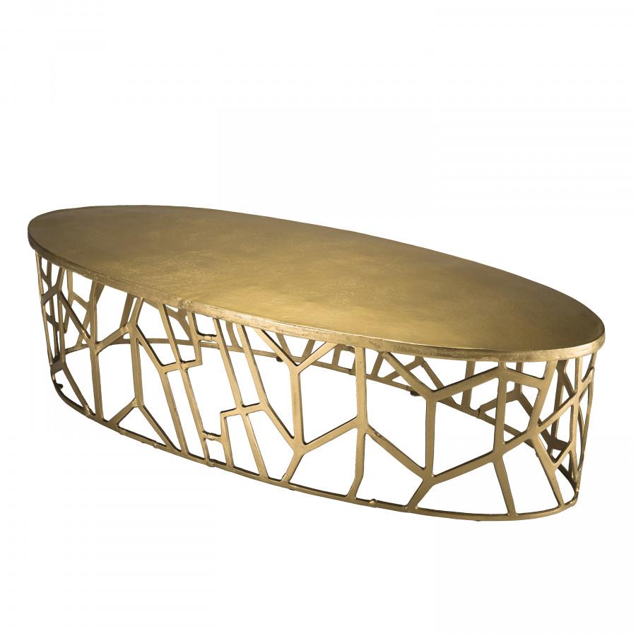 Table basse ovale pietement graphique aluminium doré