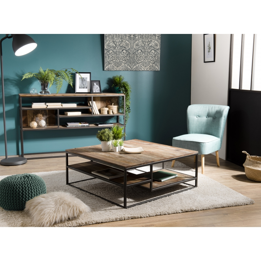 Table basse carrée bois teck recyclé acacia mahogany métal