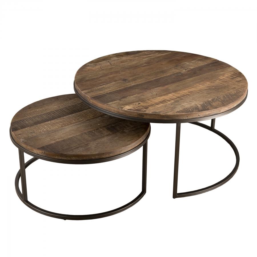 Tables basses gigogne bois teck recyclé acacia mahogany métal