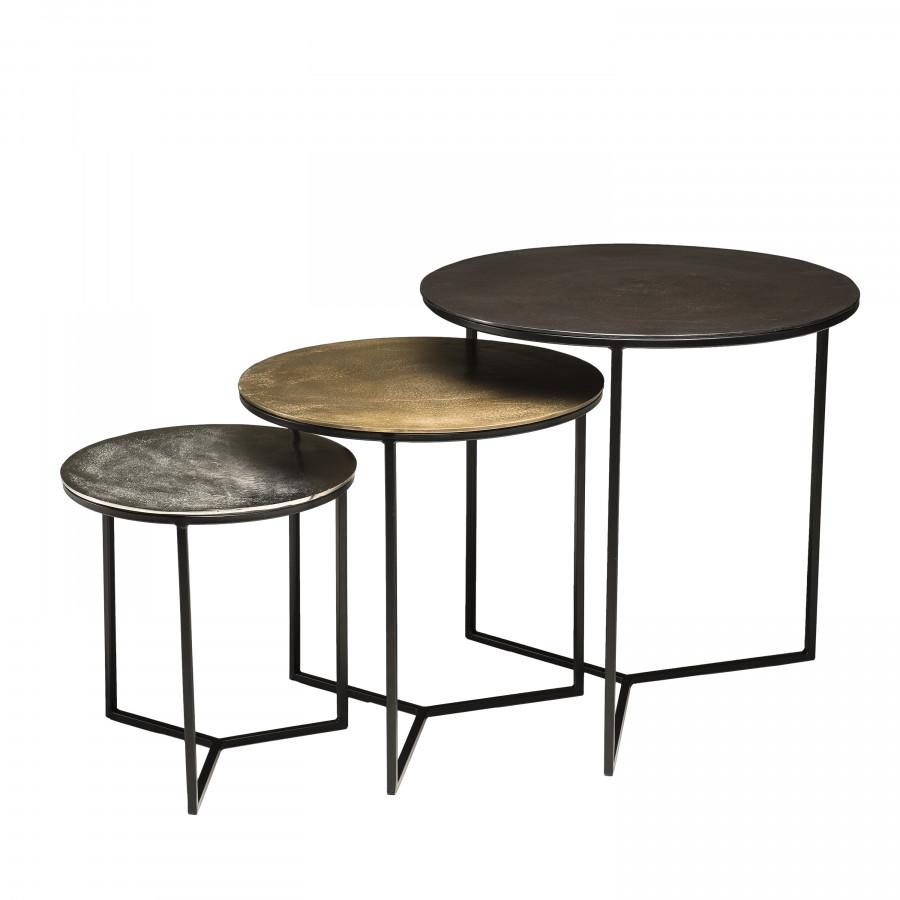 3 tables gigognes rondes aluminium noir doré argenté métal