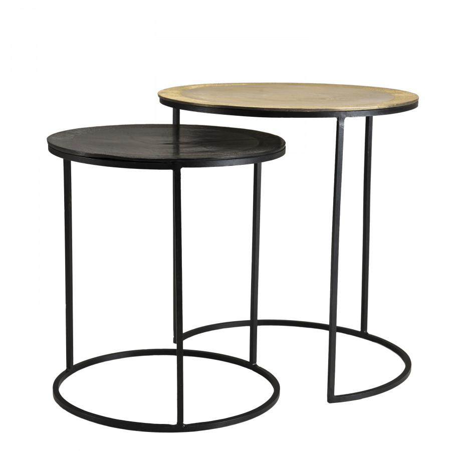 2 tables d'appoint gigognes rondes aluminium doré noir métal