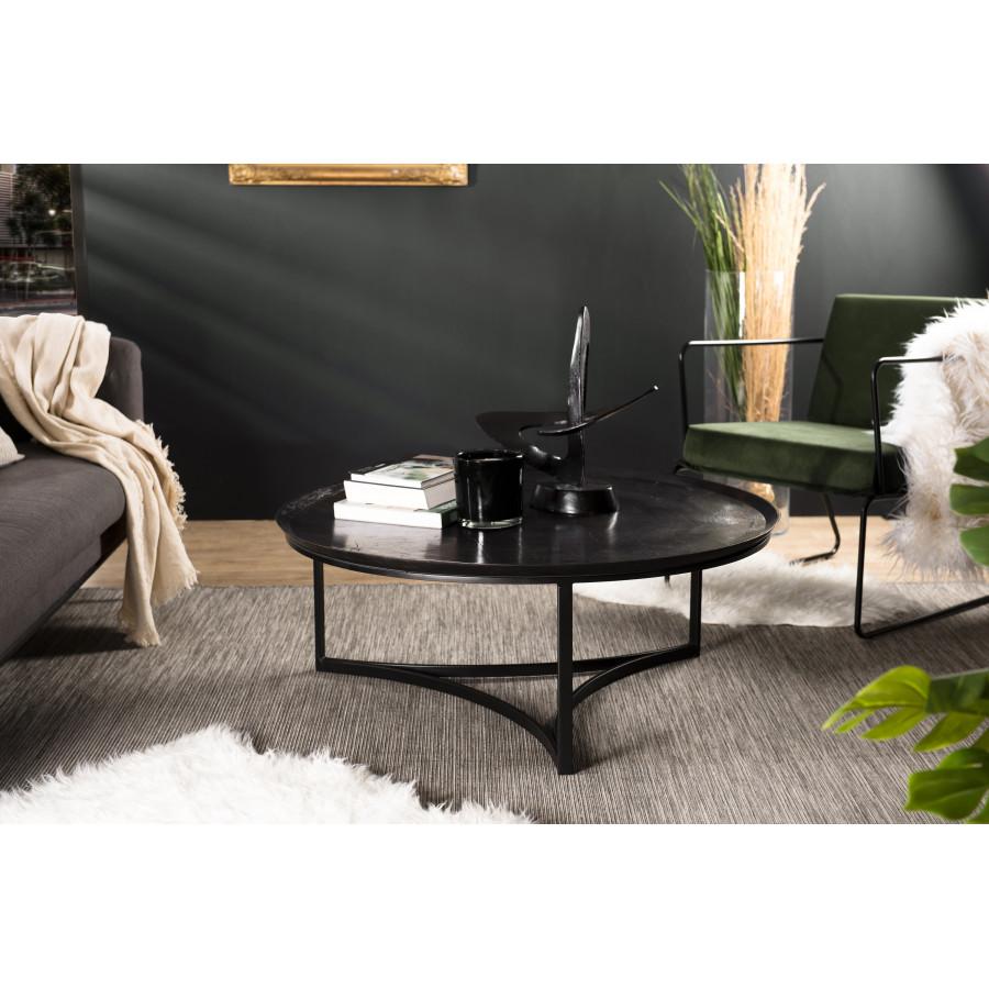 Table basse ronde aluminium noir