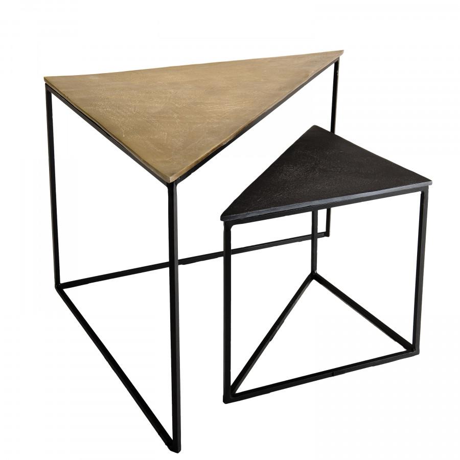 2 tables gigognes triangles aluminium doré et noir pieds métal