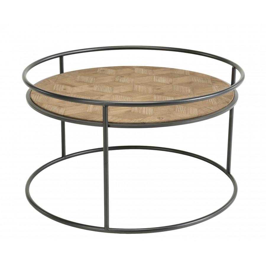 Table basse ronde bois sapin marqueté pieds métal