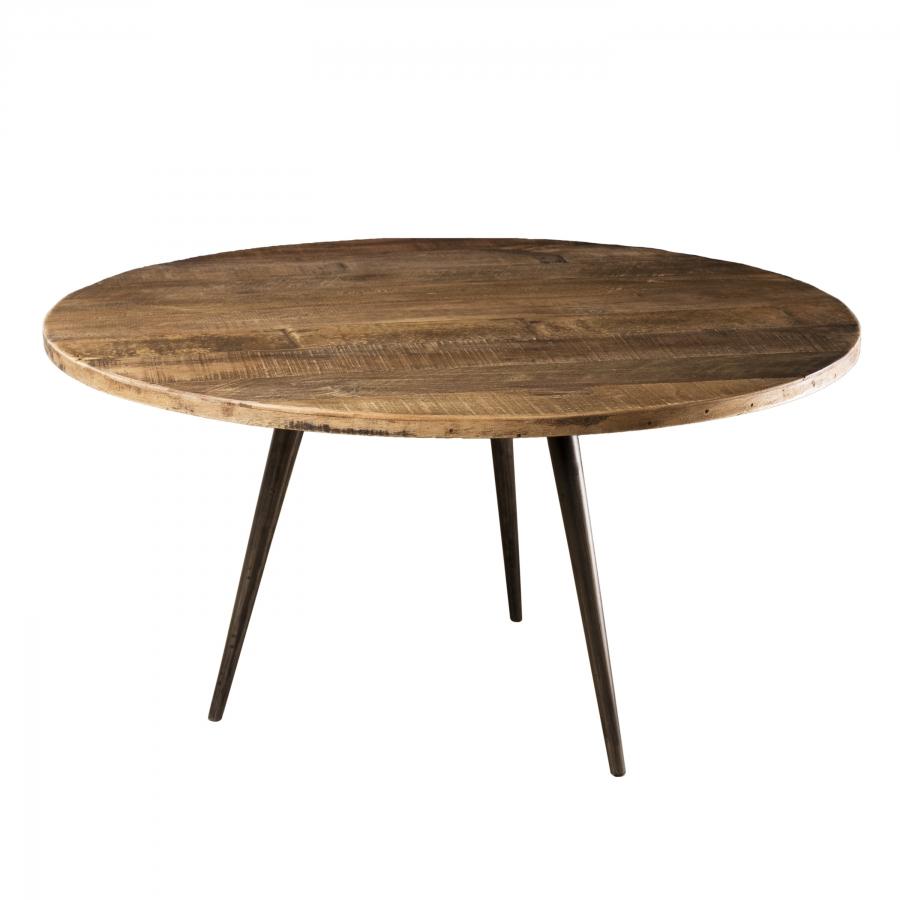 Table basse ronde bois teck recyclé et métal