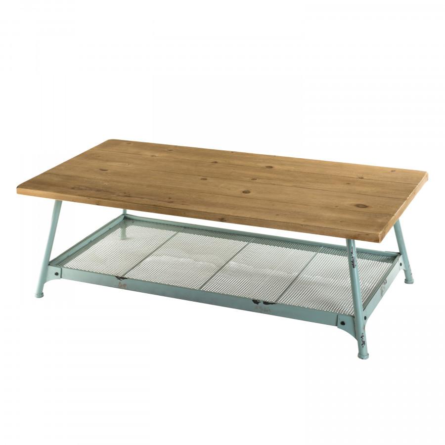 Table basse bois scandi 1 étagère bois sapin pieds métal bleu