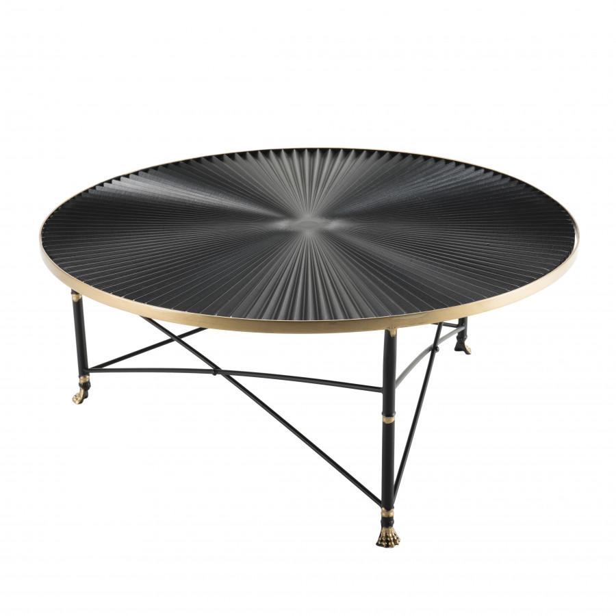 Table basse ronde ceinture dorée pieds métal noir
