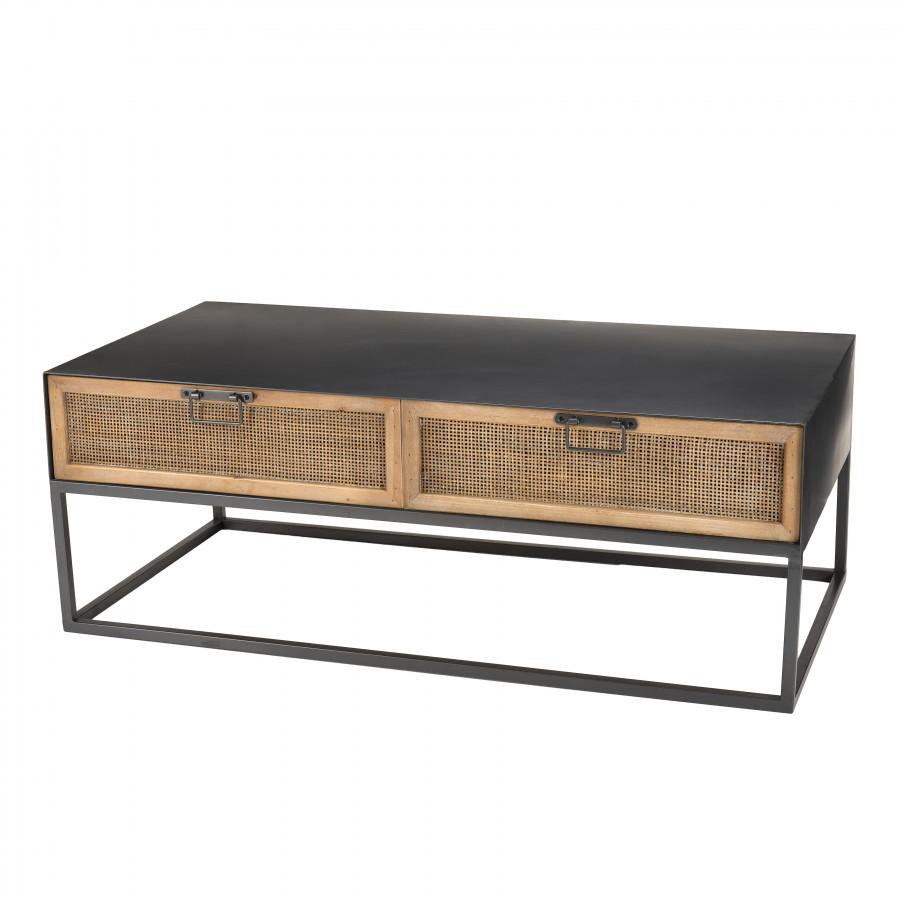 Table basse métal 2 tiroirs cannage