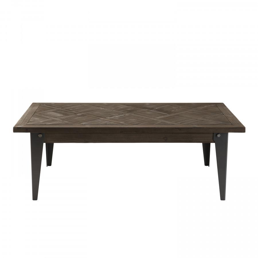 Table basse plateau bois sapin marqueté pieds métal