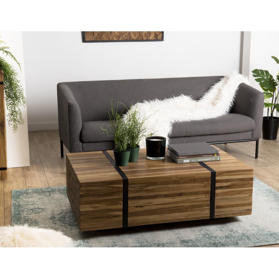 Table basse avec roulettes bois teck recyclé cerclée métal