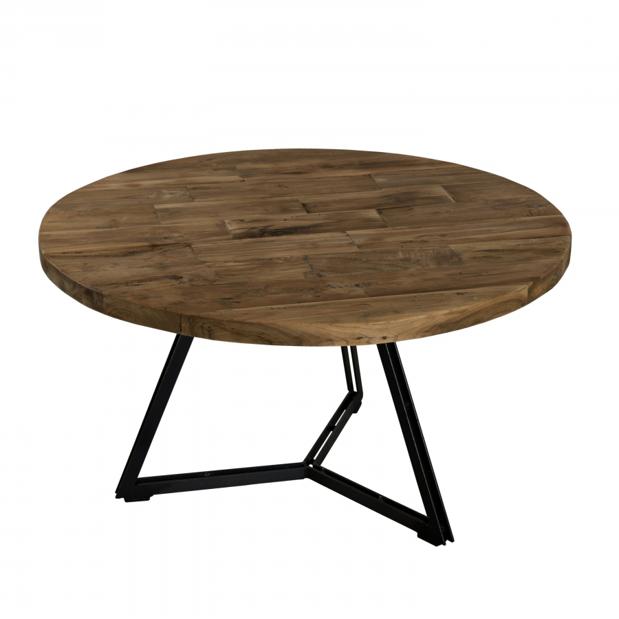 Table basse ronde bois pieds noirs