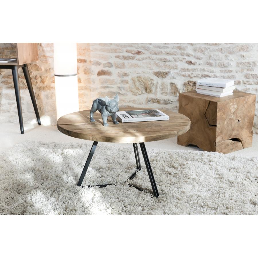 Table basse ronde bois pieds noirs