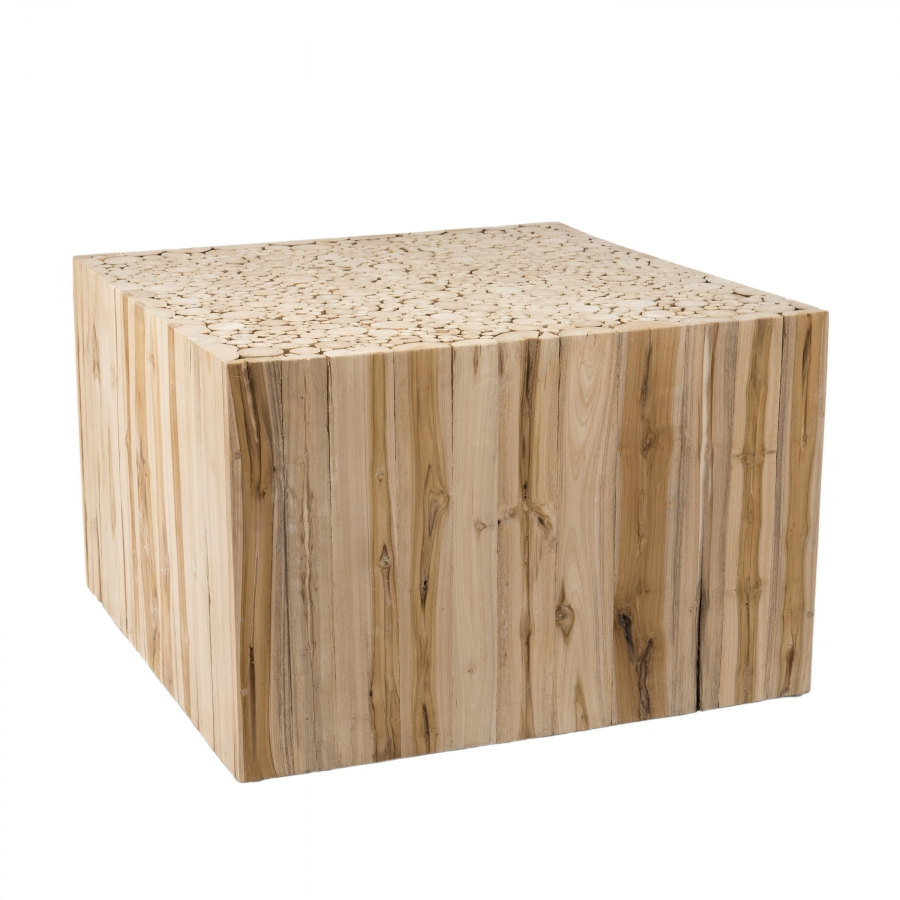 Table basse carrée nature branches bois teck