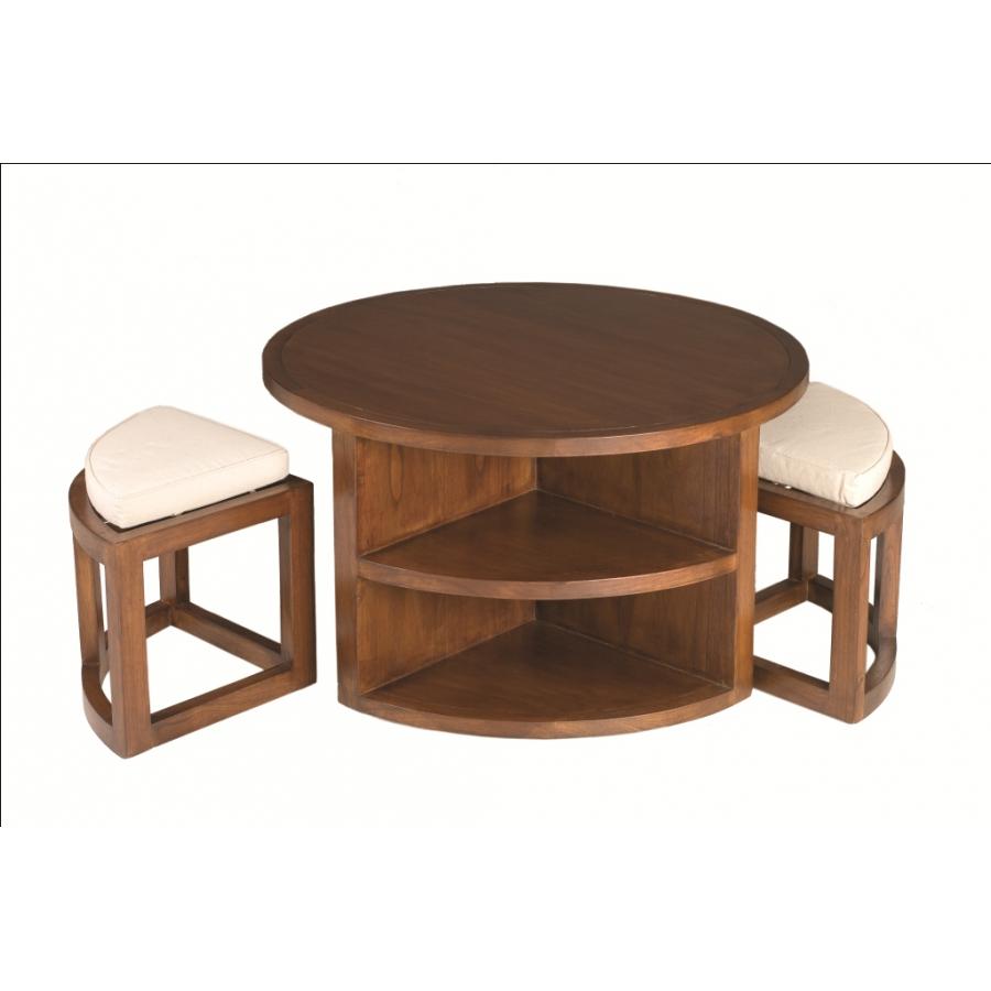 Table basse ronde 2 tabourets avec coussins bois