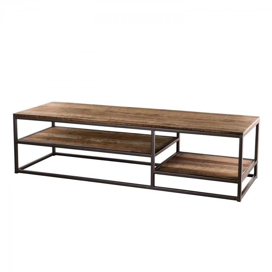 Table basse teck recyclé acacia mahogany métal
