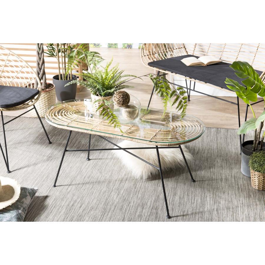 Table basse rotin naturel plateau verre pieds métal