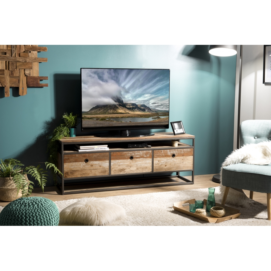 Meuble TV 3 tiroirs bois teck recycléacacia mahogany métal