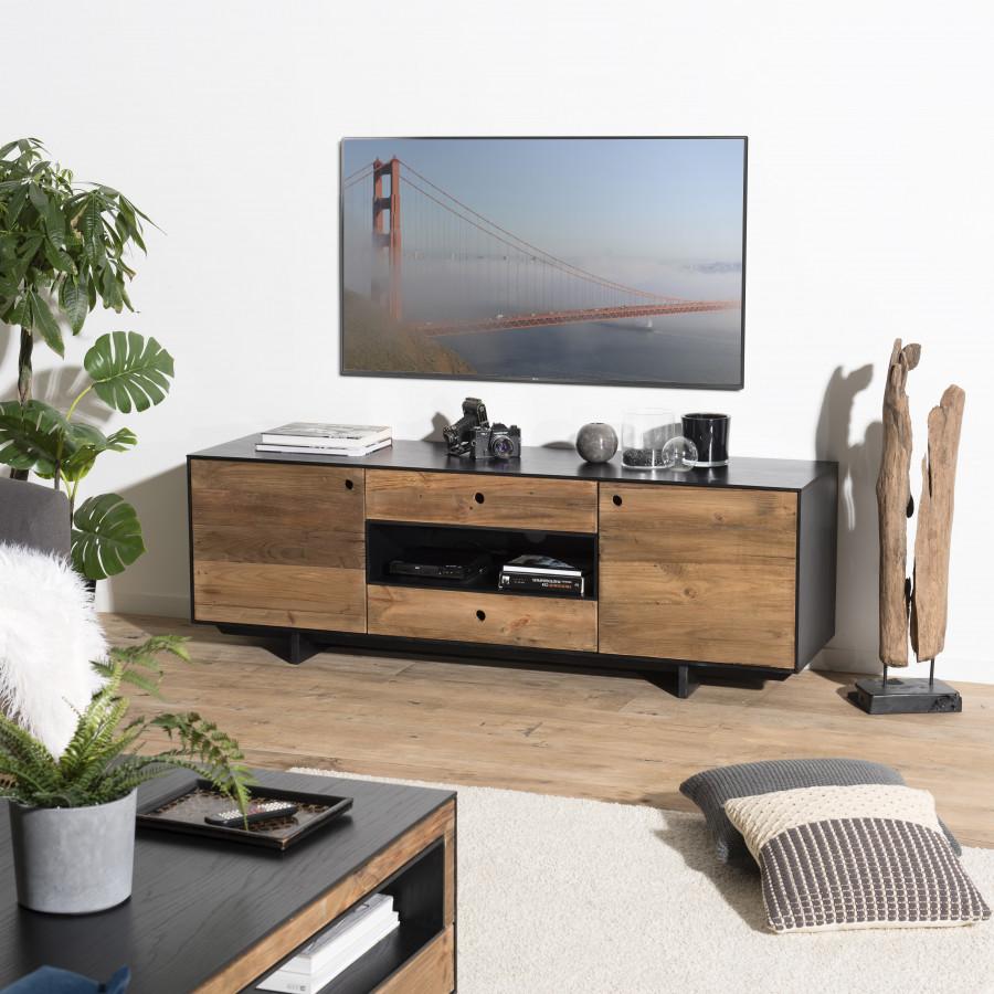 Meuble TV 2 portes 2 tiroirs 1 niche bois pin recyclé