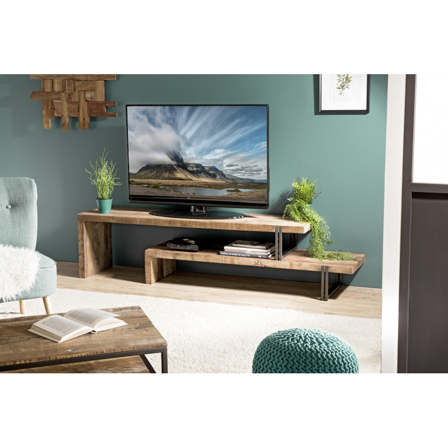 Meuble TV 2 niveaux bois teck recyclé acacia mahogany métal