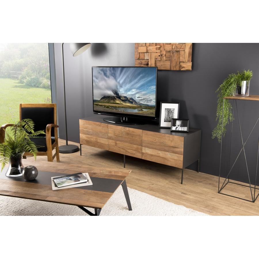 Meuble TV portes tiroir bois teck recyclé métal pieds métal