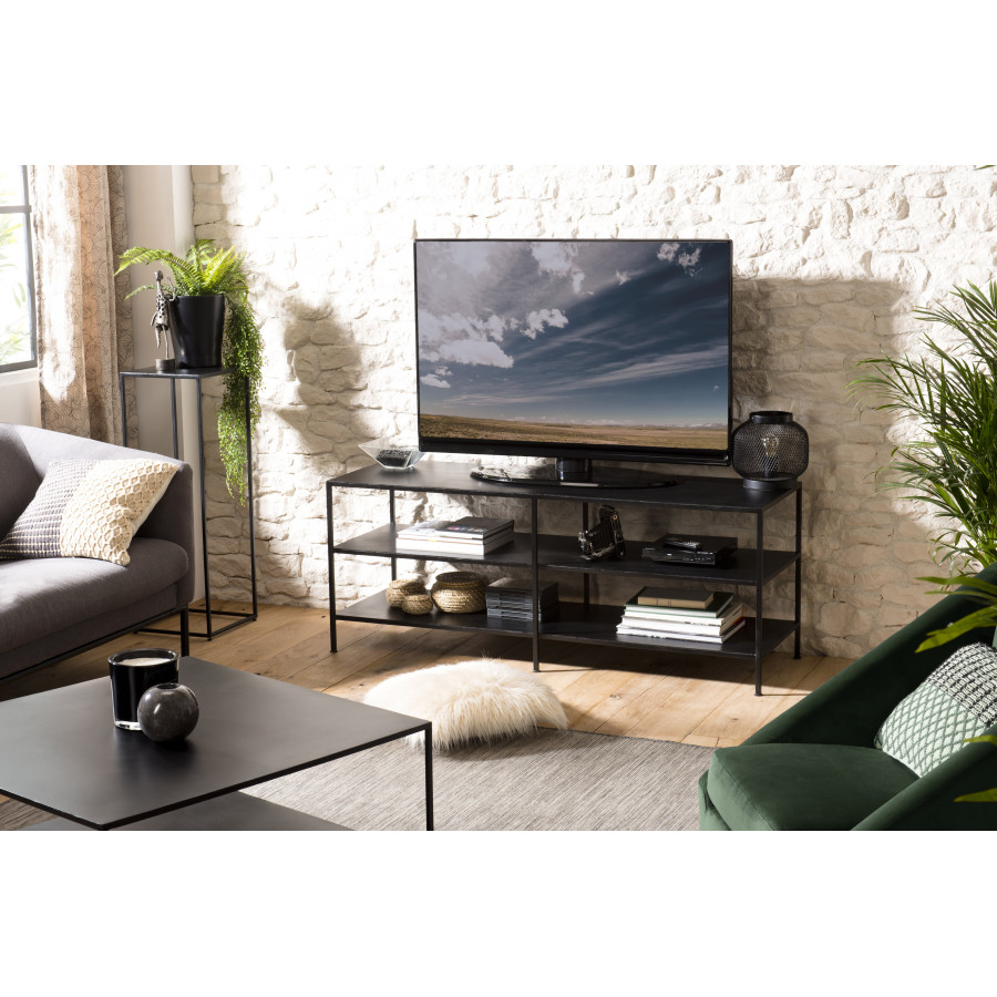 Meuble TV industriel 2 étagères métal
